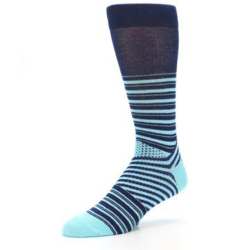 Image of Navy Light Blue Stripe Men's Dress Socks (side-2-09)