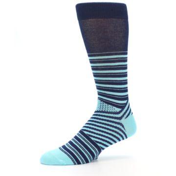 Image of Navy Light Blue Stripe Men's Dress Socks (side-2-10)