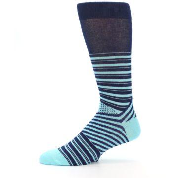 Image of Navy Light Blue Stripe Men's Dress Socks (side-2-11)