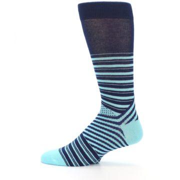 Image of Navy Light Blue Stripe Men's Dress Socks (side-2-12)