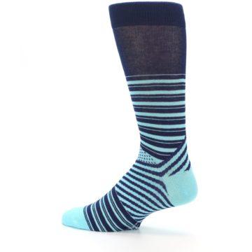 Image of Navy Light Blue Stripe Men's Dress Socks (side-2-13)