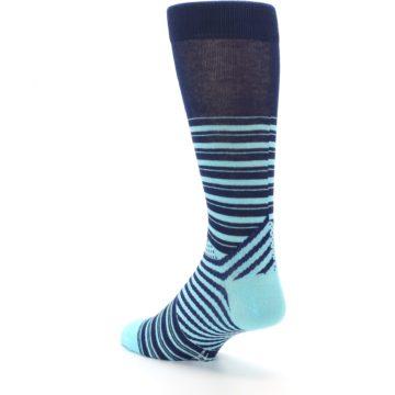 Image of Navy Light Blue Stripe Men's Dress Socks (side-2-back-15)