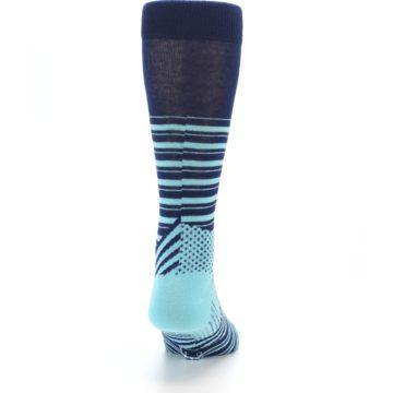 Image of Navy Light Blue Stripe Men's Dress Socks (back-19)