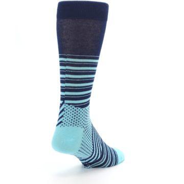 Image of Navy Light Blue Stripe Men's Dress Socks (side-1-back-21)