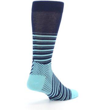 Image of Navy Light Blue Stripe Men's Dress Socks (side-1-back-22)