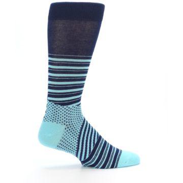 Image of Navy Light Blue Stripe Men's Dress Socks (side-1-24)