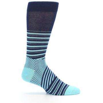Image of Navy Light Blue Stripe Men's Dress Socks (side-1-25)
