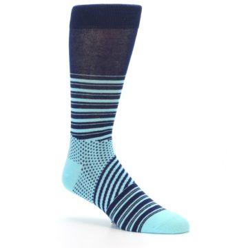 Image of Navy Light Blue Stripe Men's Dress Socks (side-1-27)