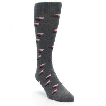 Image of Grey Red Black Triangles Men's Dress Socks (side-1-front-02)