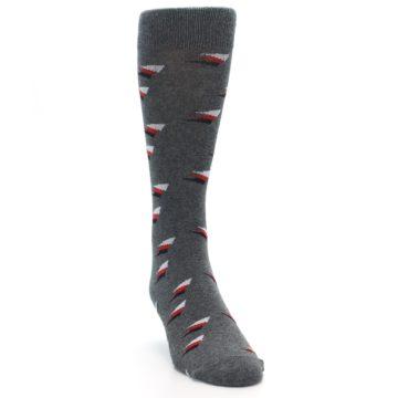 Image of Grey Red Black Triangles Men's Dress Socks (side-1-front-03)