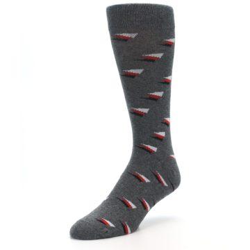 Image of Grey Red Black Triangles Men's Dress Socks (side-2-front-08)