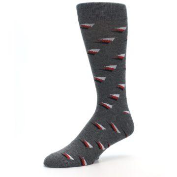 Image of Grey Red Black Triangles Men's Dress Socks (side-2-09)