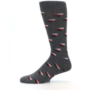 Image of Grey Red Black Triangles Men's Dress Socks (side-2-11)
