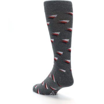 Image of Grey Red Black Triangles Men's Dress Socks (side-2-back-15)