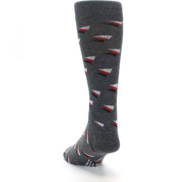 Image of Grey Red Black Triangles Men's Dress Socks (side-2-back-16)