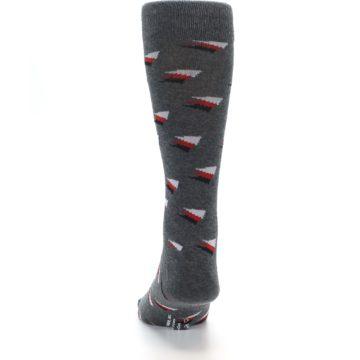 Image of Grey Red Black Triangles Men's Dress Socks (back-17)