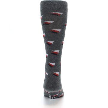 Image of Grey Red Black Triangles Men's Dress Socks (back-18)