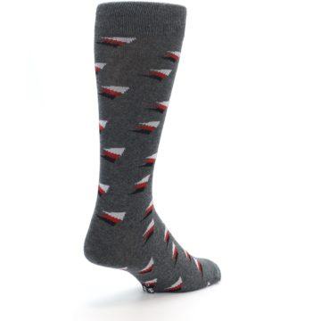 Image of Grey Red Black Triangles Men's Dress Socks (side-1-back-21)