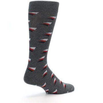 Image of Grey Red Black Triangles Men's Dress Socks (side-1-back-22)