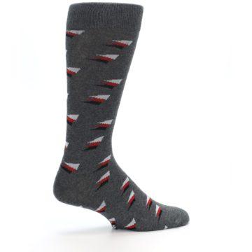 Image of Grey Red Black Triangles Men's Dress Socks (side-1-23)