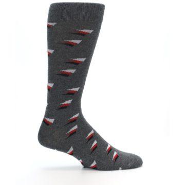 Image of Grey Red Black Triangles Men's Dress Socks (side-1-24)