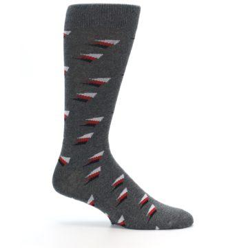 Image of Grey Red Black Triangles Men's Dress Socks (side-1-25)
