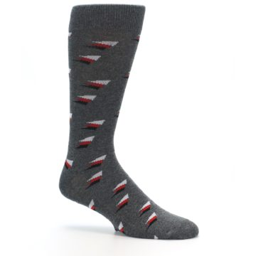 Image of Grey Red Black Triangles Men's Dress Socks (side-1-26)