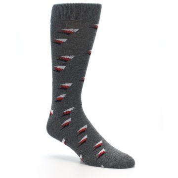 Image of Grey Red Black Triangles Men's Dress Socks (side-1-27)