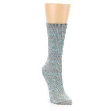 Image of Grey Aqua Diamond Pattern Women's Dress Socks (side-1-front-02)