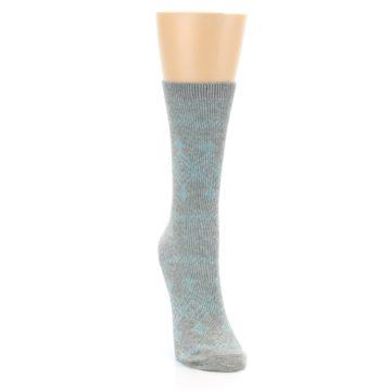 Image of Grey Aqua Diamond Pattern Women's Dress Socks (side-1-front-03)
