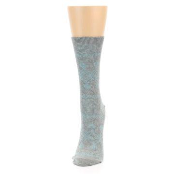 Image of Grey Aqua Diamond Pattern Women's Dress Socks (side-2-front-06)