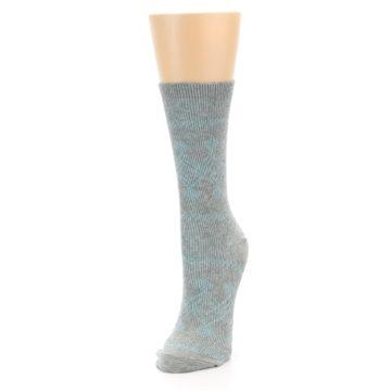 Image of Grey Aqua Diamond Pattern Women's Dress Socks (side-2-front-07)