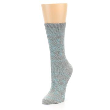 Image of Grey Aqua Diamond Pattern Women's Dress Socks (side-2-front-08)