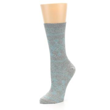 Image of Grey Aqua Diamond Pattern Women's Dress Socks (side-2-09)