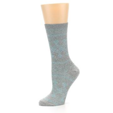 Image of Grey Aqua Diamond Pattern Women's Dress Socks (side-2-10)