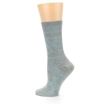 Image of Grey Aqua Diamond Pattern Women's Dress Socks (side-2-13)