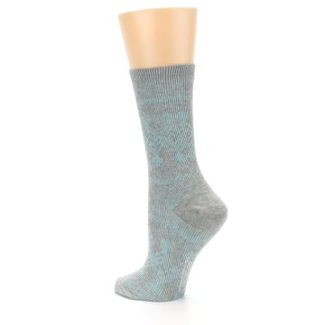 Image of Grey Aqua Diamond Pattern Women's Dress Socks (side-2-back-14)