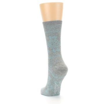 Image of Grey Aqua Diamond Pattern Women's Dress Socks (side-2-back-16)