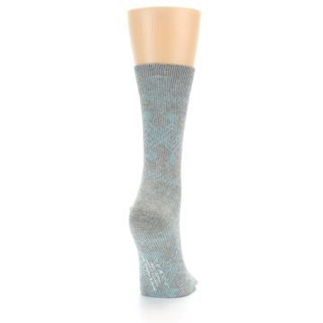 Image of Grey Aqua Diamond Pattern Women's Dress Socks (side-1-back-20)