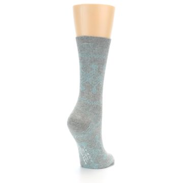 Image of Grey Aqua Diamond Pattern Women's Dress Socks (side-1-back-21)