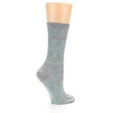 Image of Grey Aqua Diamond Pattern Women's Dress Socks (side-1-23)