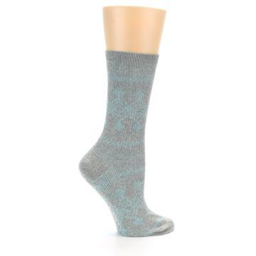 Image of Grey Aqua Diamond Pattern Women's Dress Socks (side-1-24)