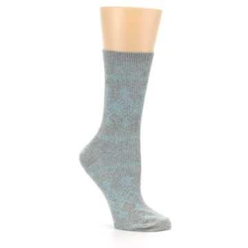 Image of Grey Aqua Diamond Pattern Women's Dress Socks (side-1-26)