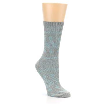 Image of Grey Aqua Diamond Pattern Women's Dress Socks (side-1-27)