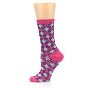 Image of Pink Purple Diamonds Women's Dress Socks (side-2-11)