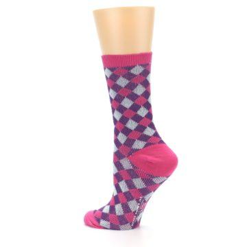 Image of Pink Purple Diamonds Women's Dress Socks (side-2-13)