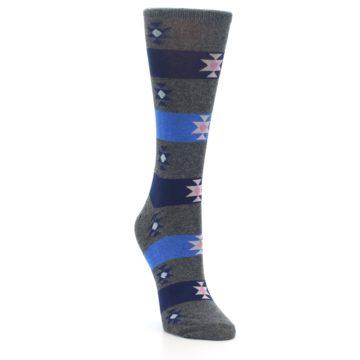 Image of Grey Blue Stripe Women's Dress Socks (side-1-front-02)