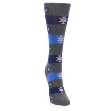 Image of Grey Blue Stripe Women's Dress Socks (side-1-front-03)