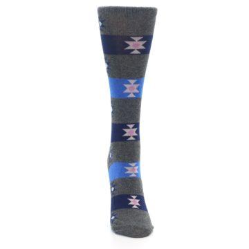 Image of Grey Blue Stripe Women's Dress Socks (front-04)