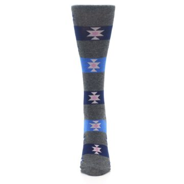 Image of Grey Blue Stripe Women's Dress Socks (front-05)